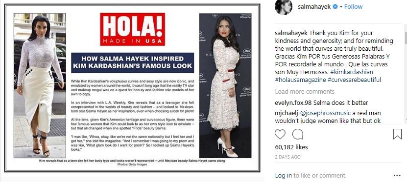 The Special Message Of Salma Hayek To Kim Kardashian Hollywoodgossip